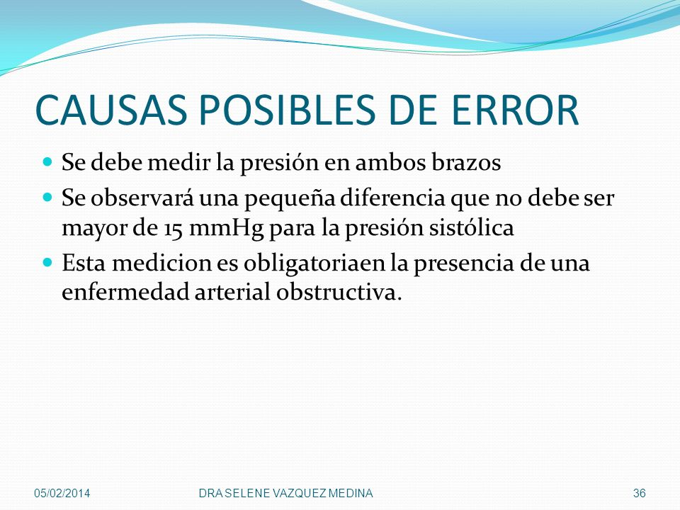 CAUSAS POSIBLES DE ERROR