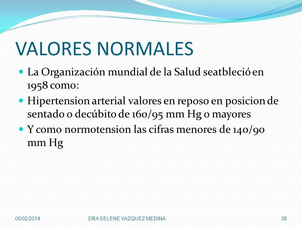 VALORES NORMALES La Organización mundial de la Salud seatbleció en 1958 como: