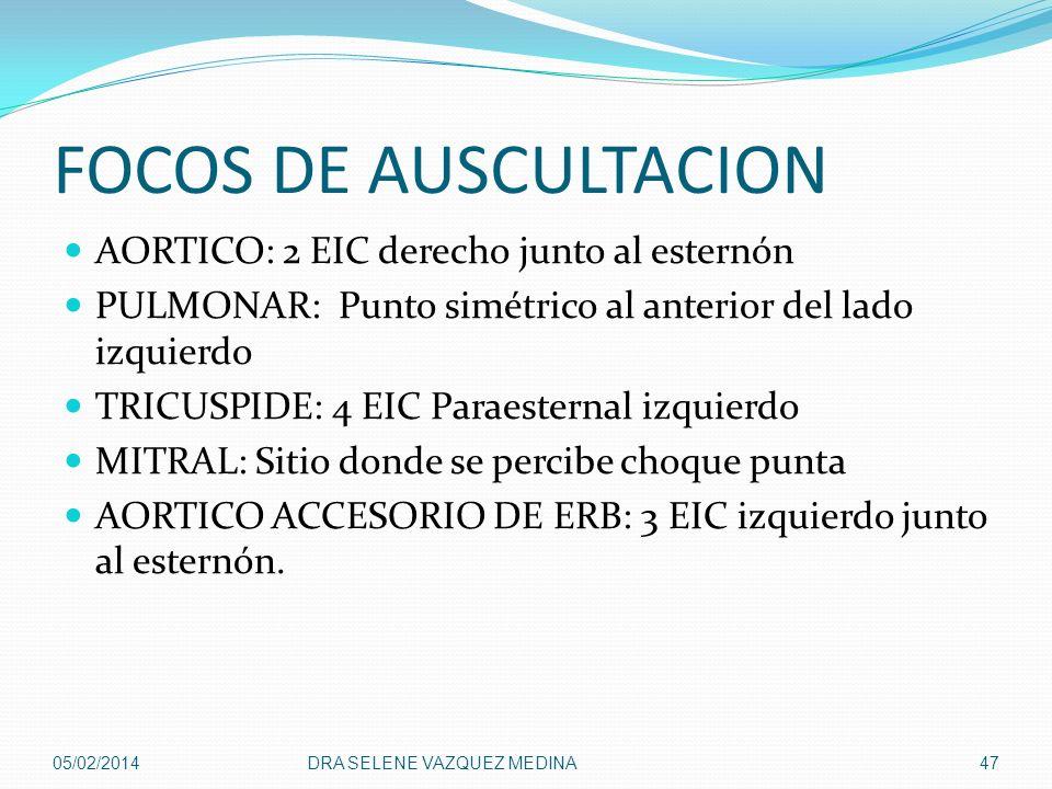 FOCOS DE AUSCULTACION AORTICO: 2 EIC derecho junto al esternón