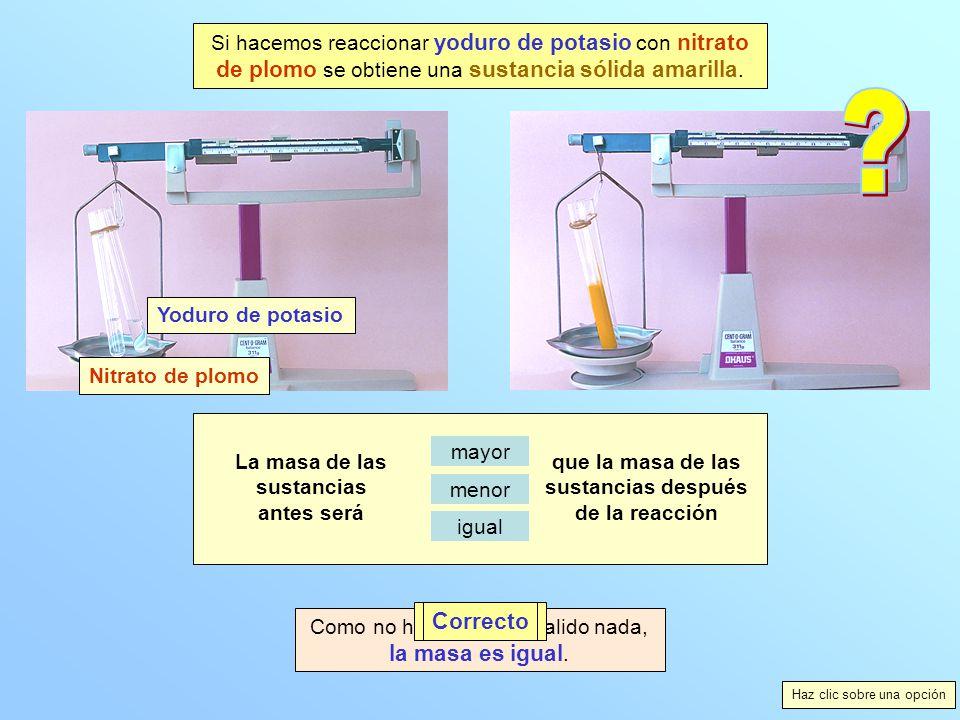 Si hacemos reaccionar yoduro de potasio con nitrato de plomo se obtiene una sustancia sólida amarilla.
