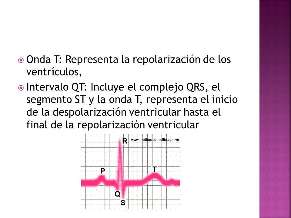 Onda T: Representa la repolarización de los ventrículos,