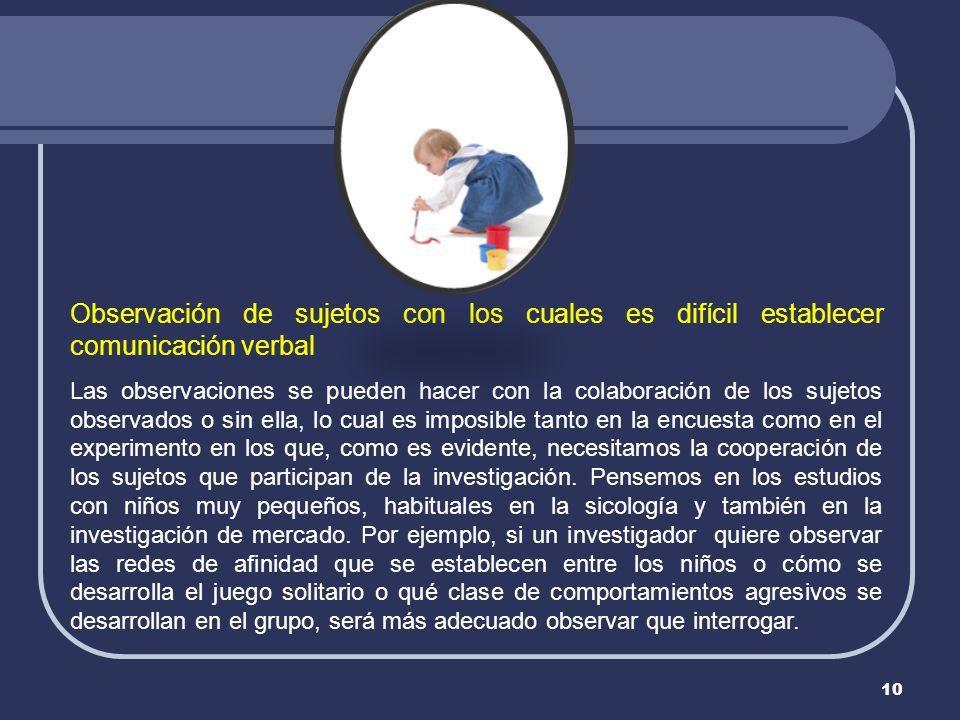 Observación de sujetos con los cuales es difícil establecer comunicación verbal