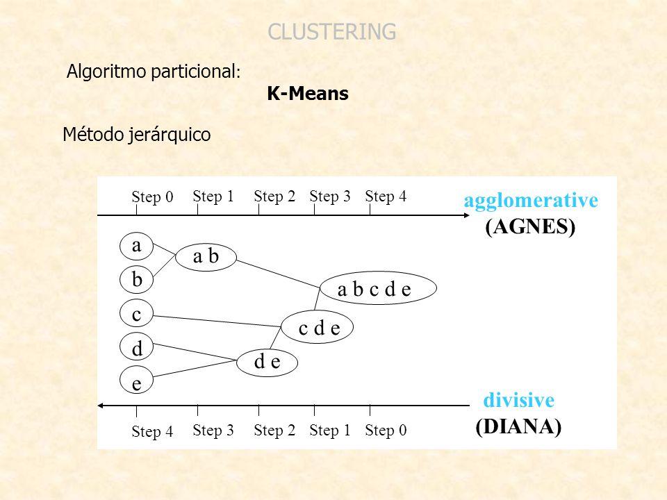 agglomerative (AGNES) divisive (DIANA)