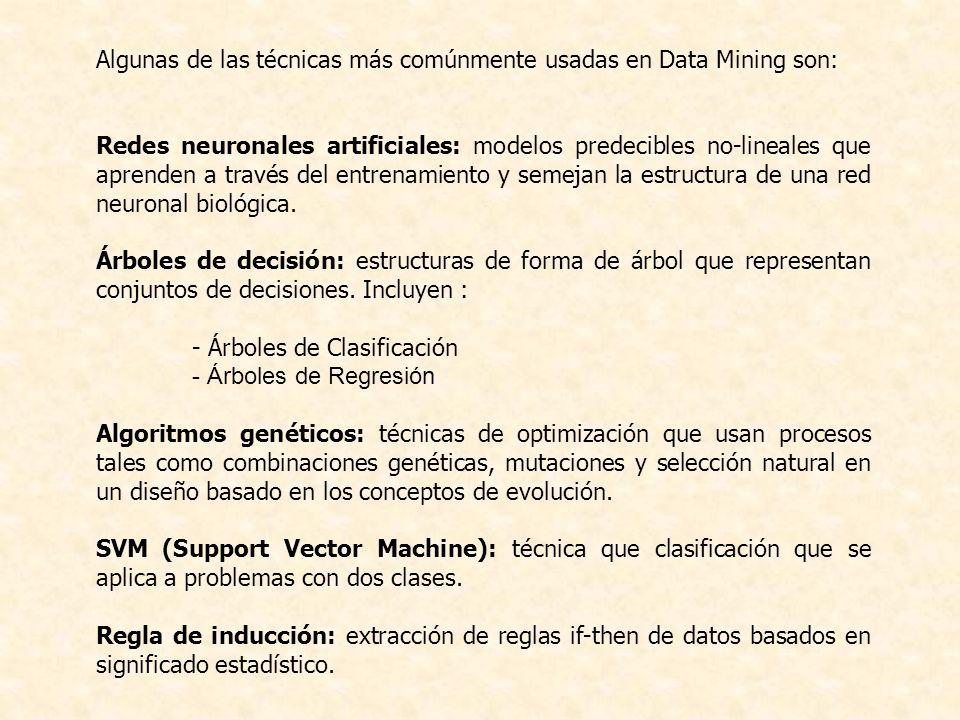 Algunas de las técnicas más comúnmente usadas en Data Mining son: