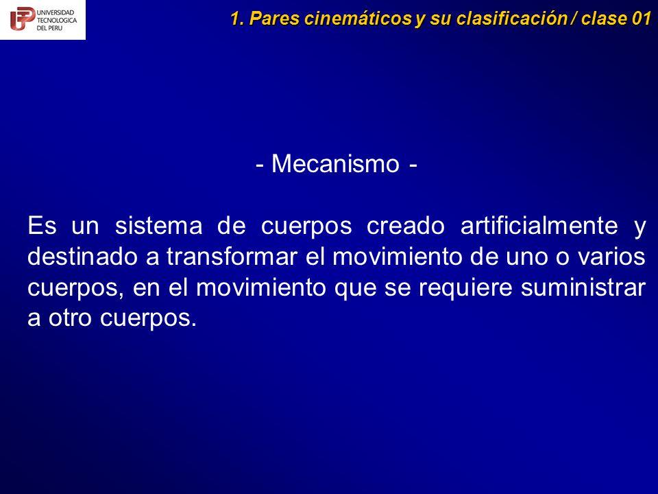 1. Pares cinemáticos y su clasificación / clase 01