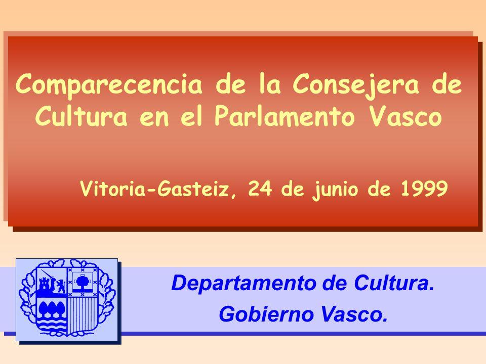 Comparecencia de la Consejera de Cultura en el Parlamento Vasco