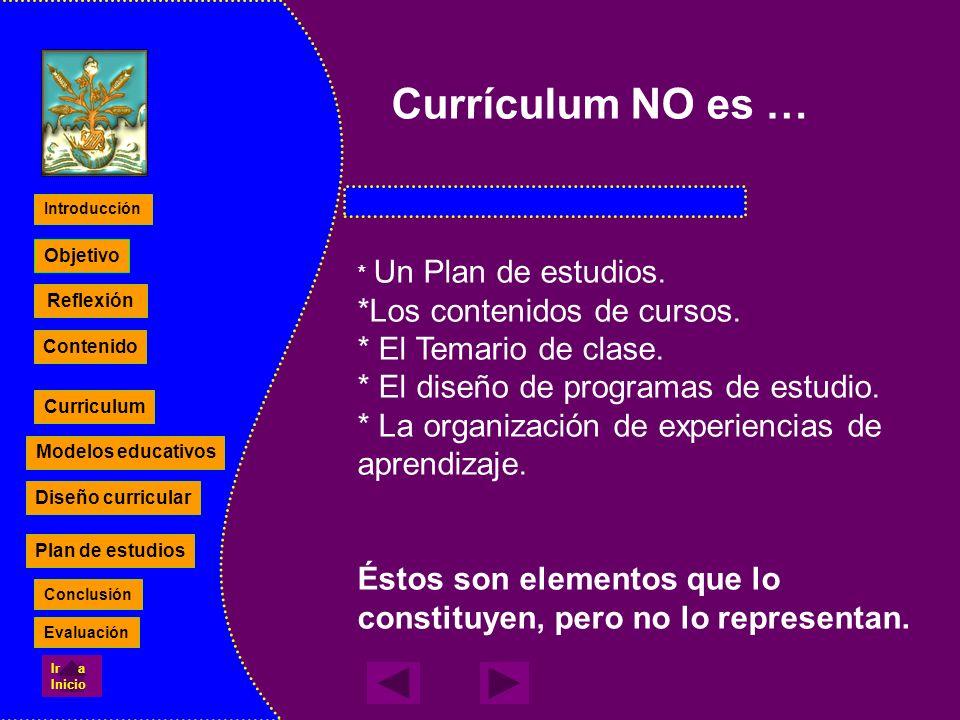 Currículum NO es … *Los contenidos de cursos. * El Temario de clase.