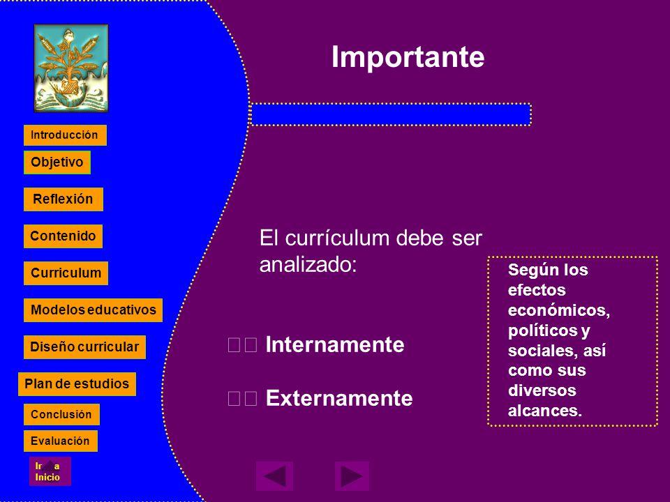 Importante El currículum debe ser analizado:  Internamente