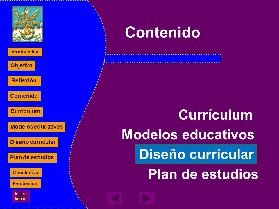 Contenido Currículum Modelos educativos Diseño curricular