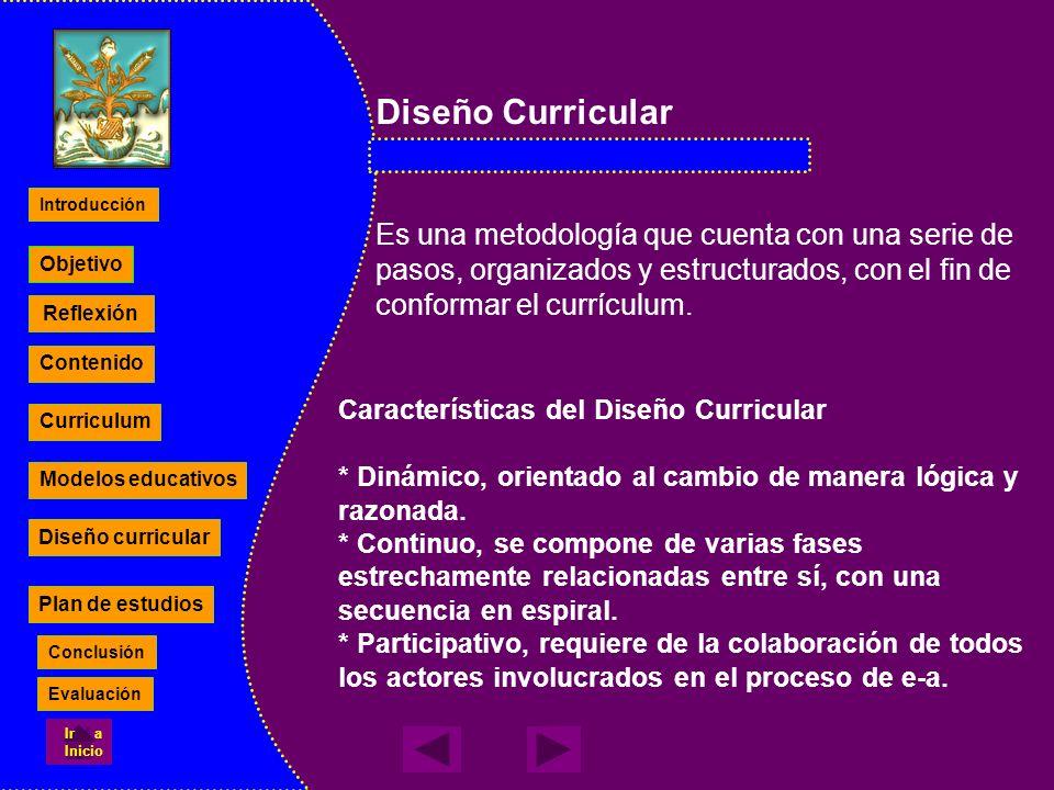 Diseño CurricularEs una metodología que cuenta con una serie de pasos, organizados y estructurados, con el fin de conformar el currículum.