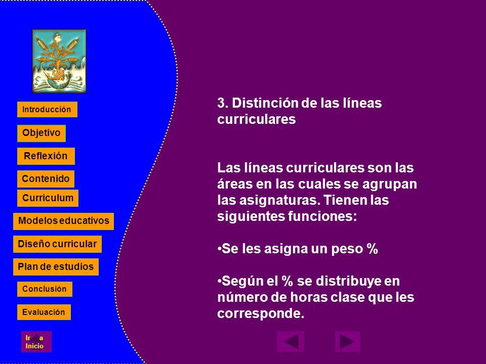 3. Distinción de las líneas curriculares