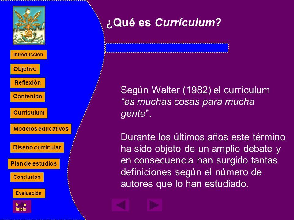 ¿Qué es Currículum Según Walter (1982) el currículum es muchas cosas para mucha gente .