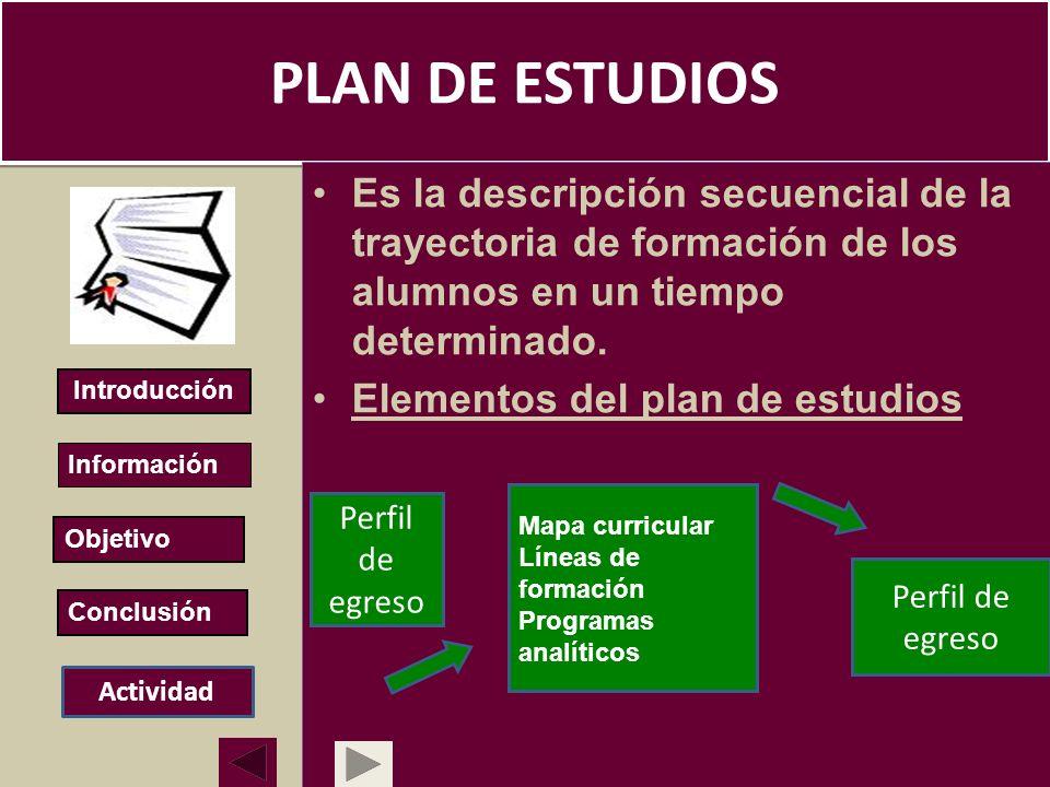 PLAN DE ESTUDIOS Es la descripción secuencial de la trayectoria de formación de los alumnos en un tiempo determinado.