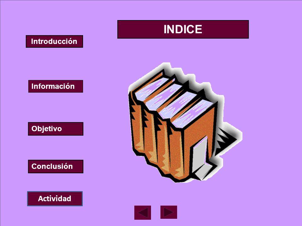 INDICE Introducción Información Objetivo Conclusión Actividad