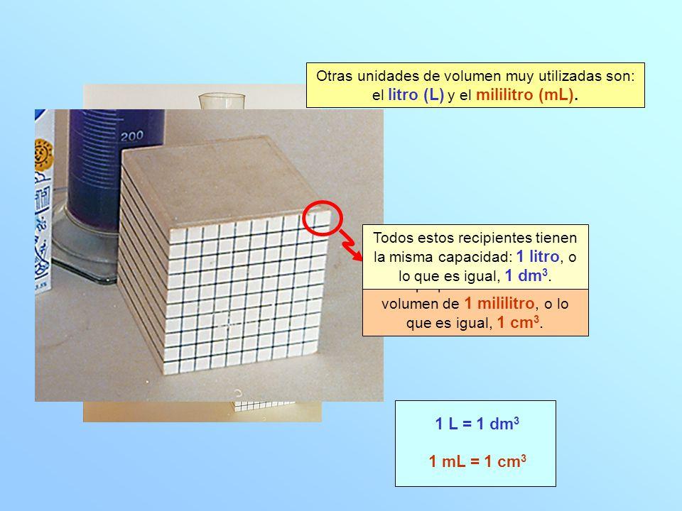 Otras unidades de volumen muy utilizadas son: el litro (L) y el mililitro (mL).