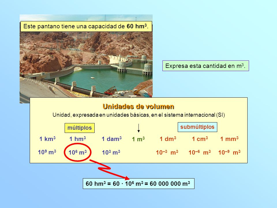 Unidades de volumen Este pantano tiene una capacidad de 60 hm3.