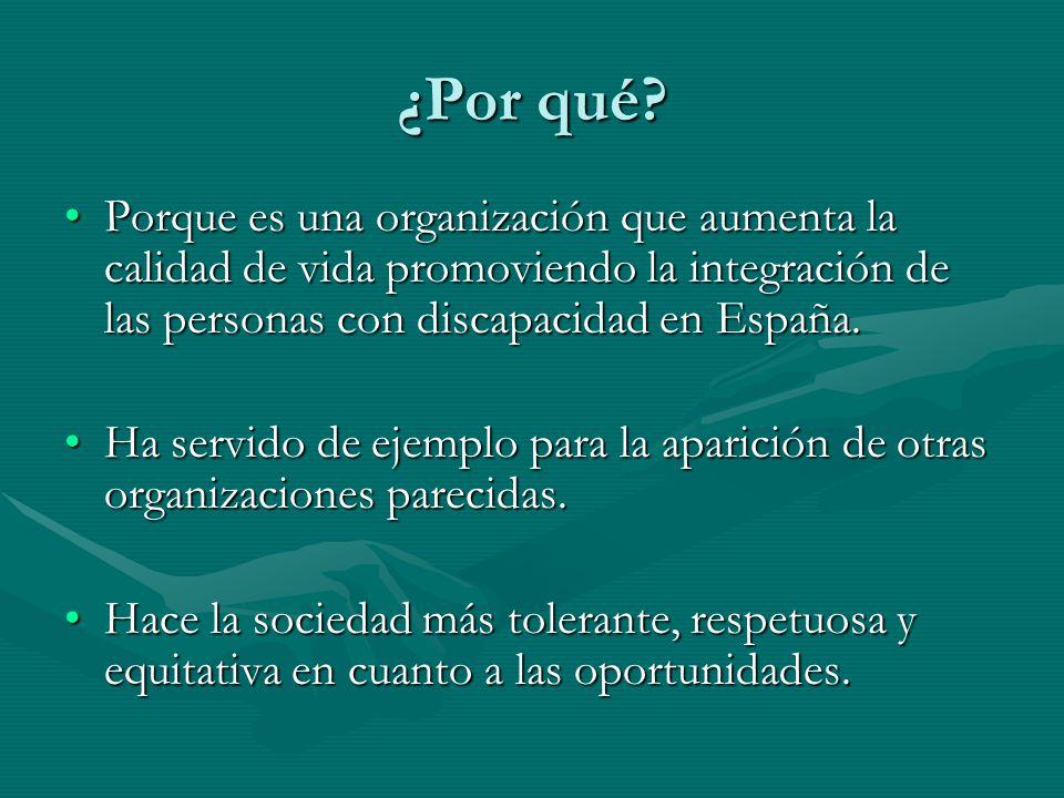 ¿Por qué Porque es una organización que aumenta la calidad de vida promoviendo la integración de las personas con discapacidad en España.