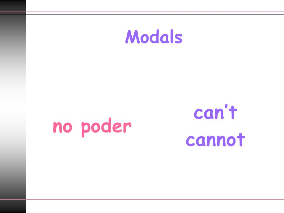 Modals no poder can't cannot