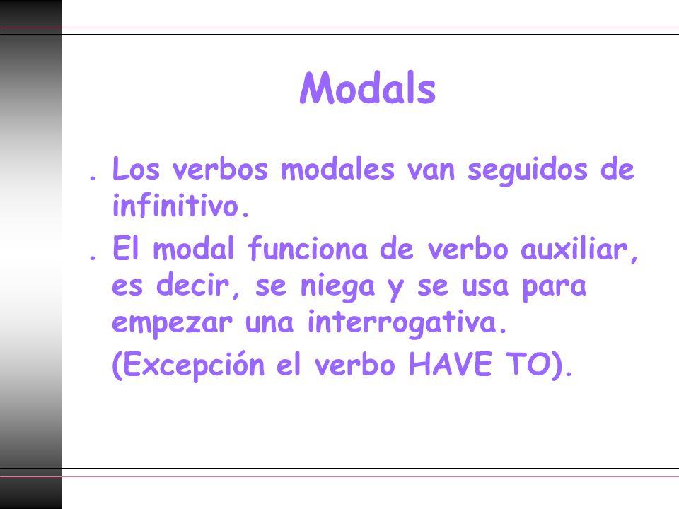 Modals . Los verbos modales van seguidos de infinitivo.