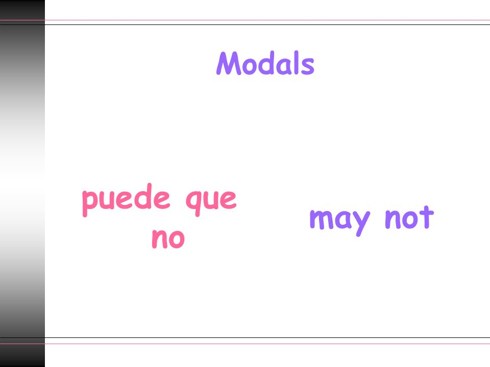 Modals puede que no may not