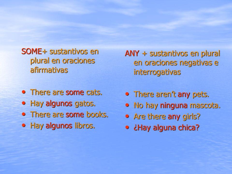 ANY + sustantivos en plural en oraciones negativas e interrogativas