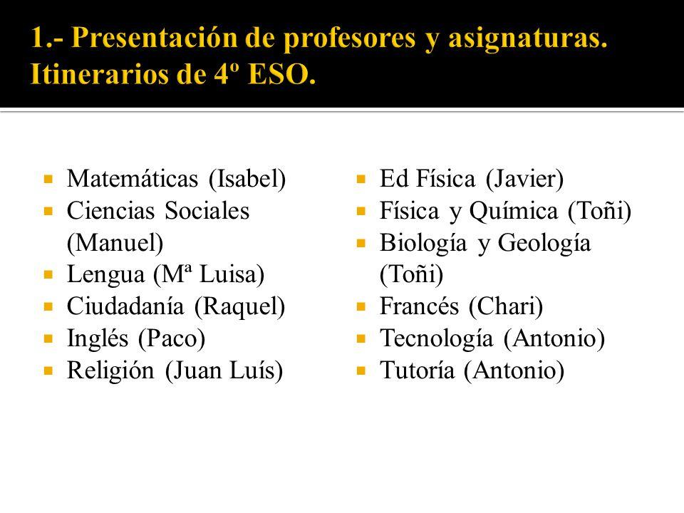 1.- Presentación de profesores y asignaturas. Itinerarios de 4º ESO.
