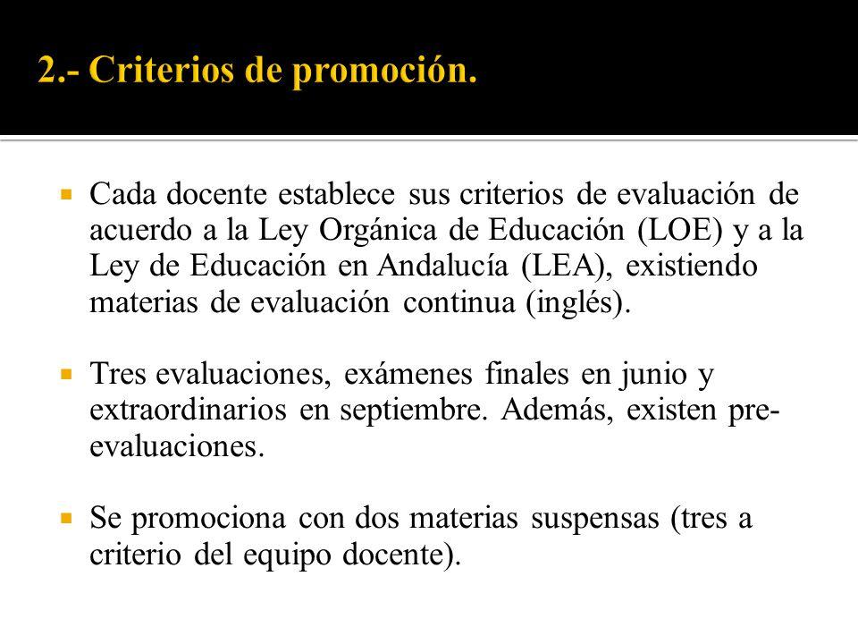 2.- Criterios de promoción.