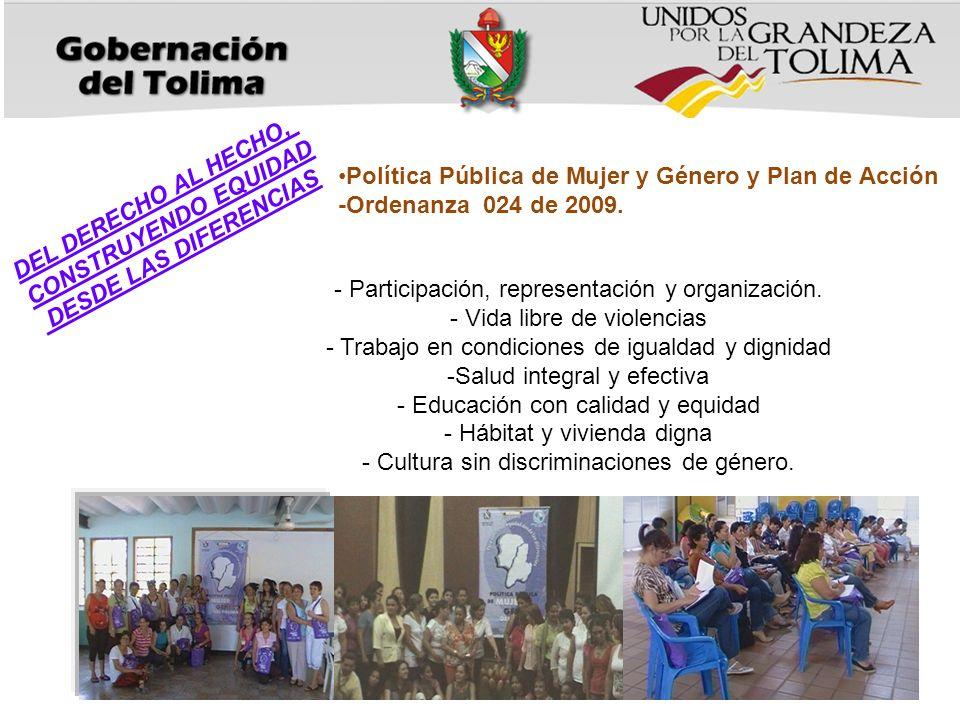 - Participación, representación y organización.