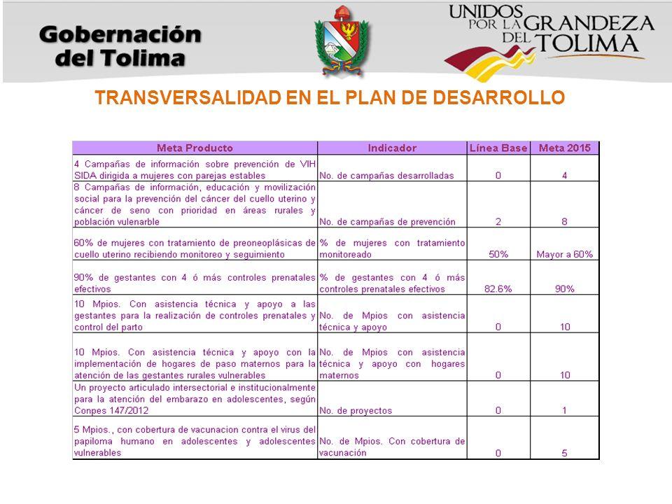 TRANSVERSALIDAD EN EL PLAN DE DESARROLLO