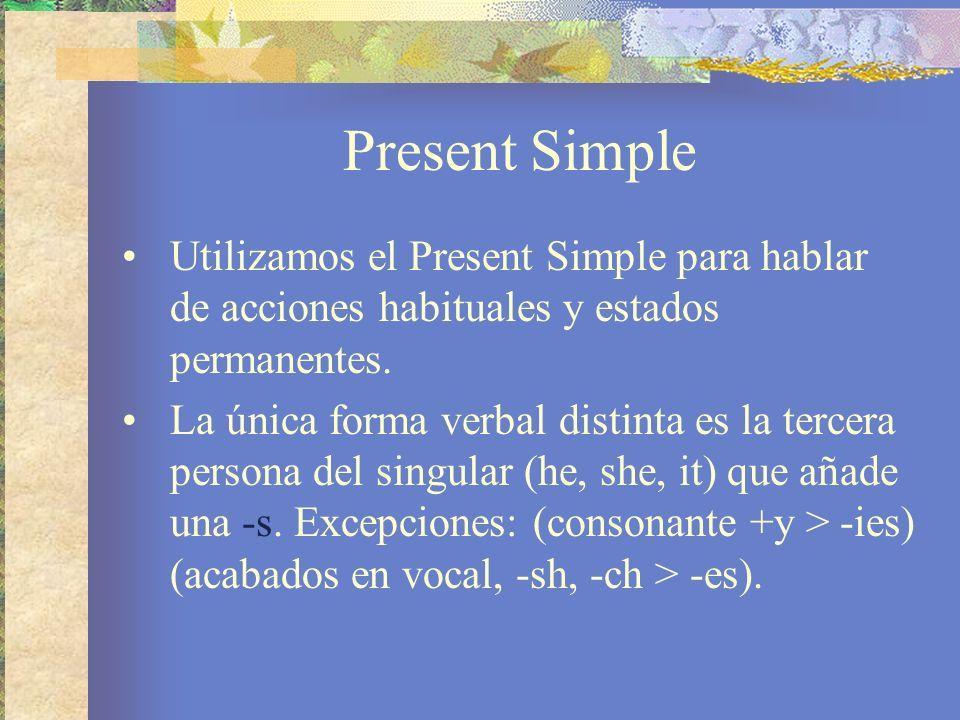 Present SimpleUtilizamos el Present Simple para hablar de acciones habituales y estados permanentes.