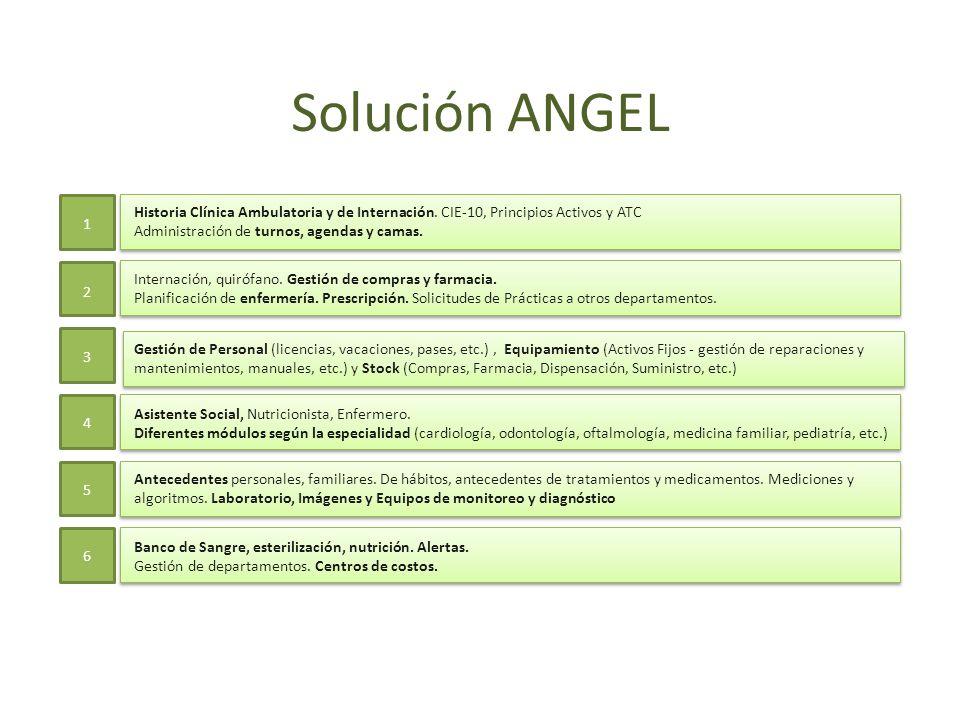 Solución ANGEL1. 2. 3. 4. 5. 6. Historia Clínica Ambulatoria y de Internación. CIE-10, Principios Activos y ATC.