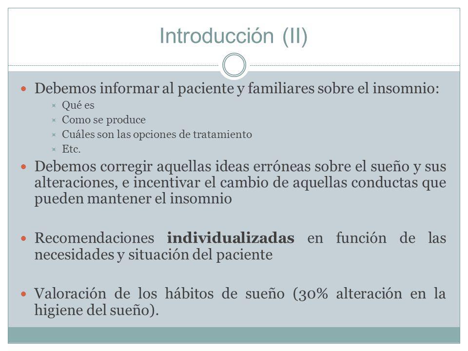 Introducción (II) Debemos informar al paciente y familiares sobre el insomnio: Qué es. Como se produce.