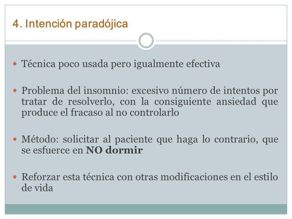 4. Intención paradójica Técnica poco usada pero igualmente efectiva