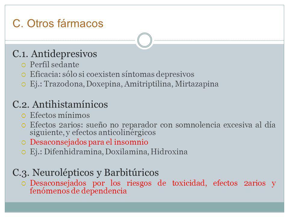 C. Otros fármacos C.1. Antidepresivos C.2. Antihistamínicos