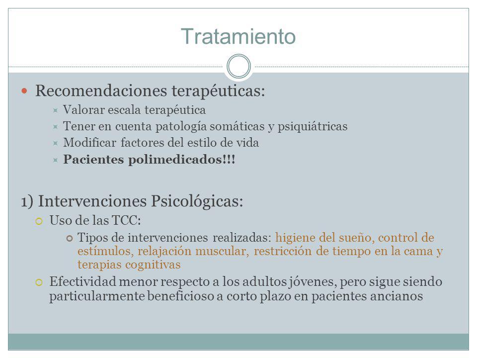 Tratamiento Recomendaciones terapéuticas: