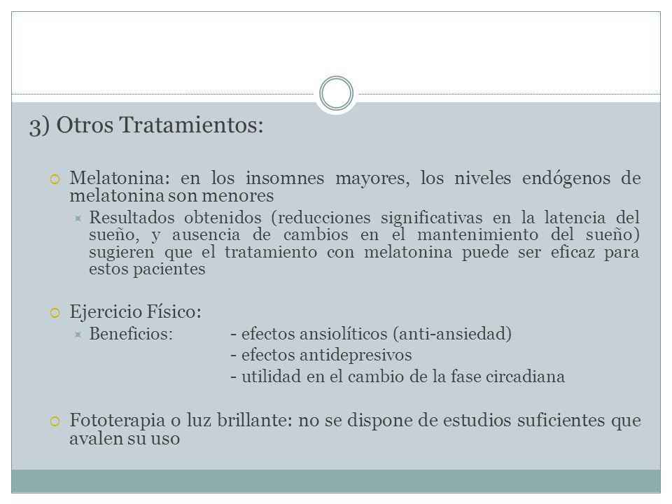 3) Otros Tratamientos: Melatonina: en los insomnes mayores, los niveles endógenos de melatonina son menores.