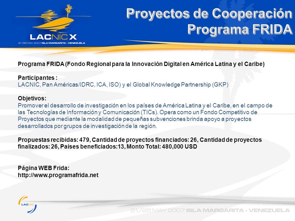 Proyectos de Cooperación Programa FRIDA