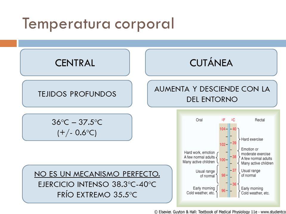 Temperatura corporal CENTRAL CUTÁNEA