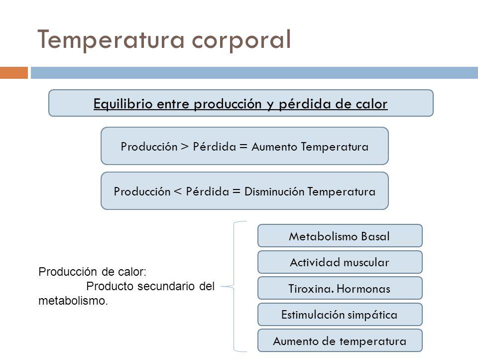 Temperatura corporal Equilibrio entre producción y pérdida de calor