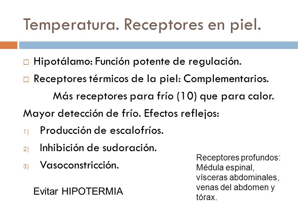 Temperatura. Receptores en piel.