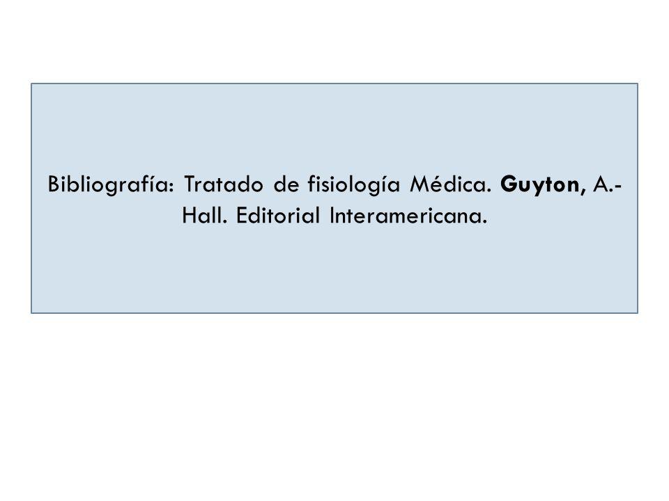 Bibliografía: Tratado de fisiología Médica. Guyton, A. - Hall