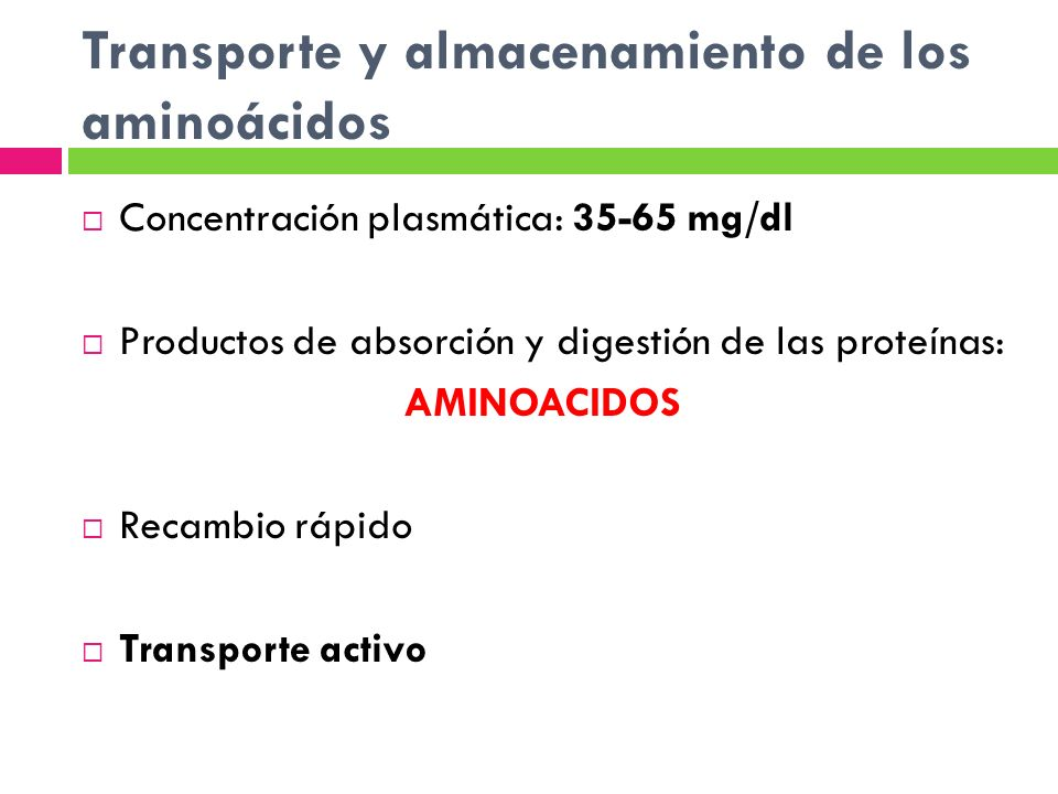 Transporte y almacenamiento de los aminoácidos