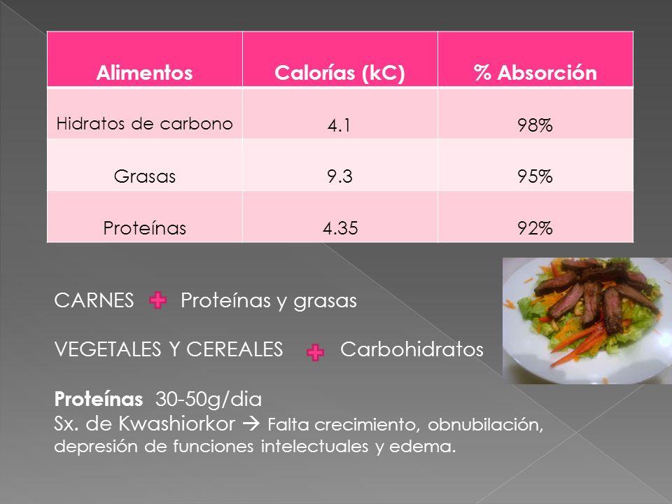 Alimentos Calorías (kC) % Absorción