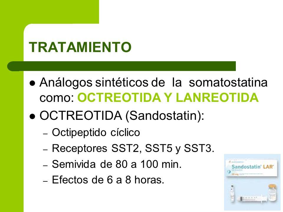 TRATAMIENTO Análogos sintéticos de la somatostatina como: OCTREOTIDA Y LANREOTIDA. OCTREOTIDA (Sandostatin):
