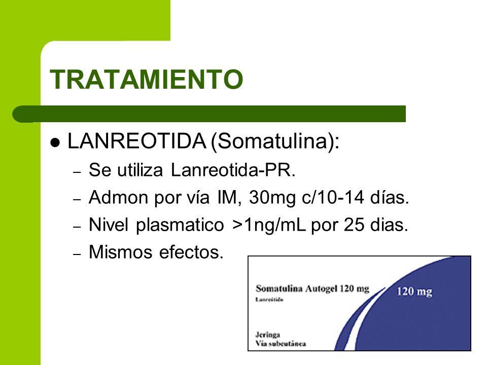 TRATAMIENTO LANREOTIDA (Somatulina): Se utiliza Lanreotida-PR.