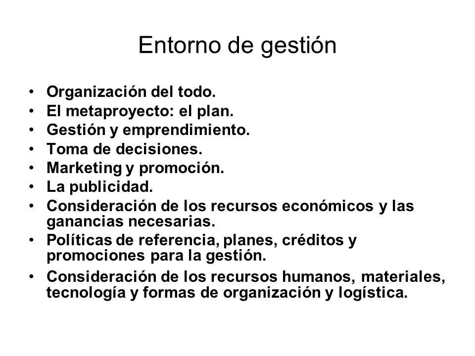 Entorno de gestión Organización del todo. El metaproyecto: el plan.