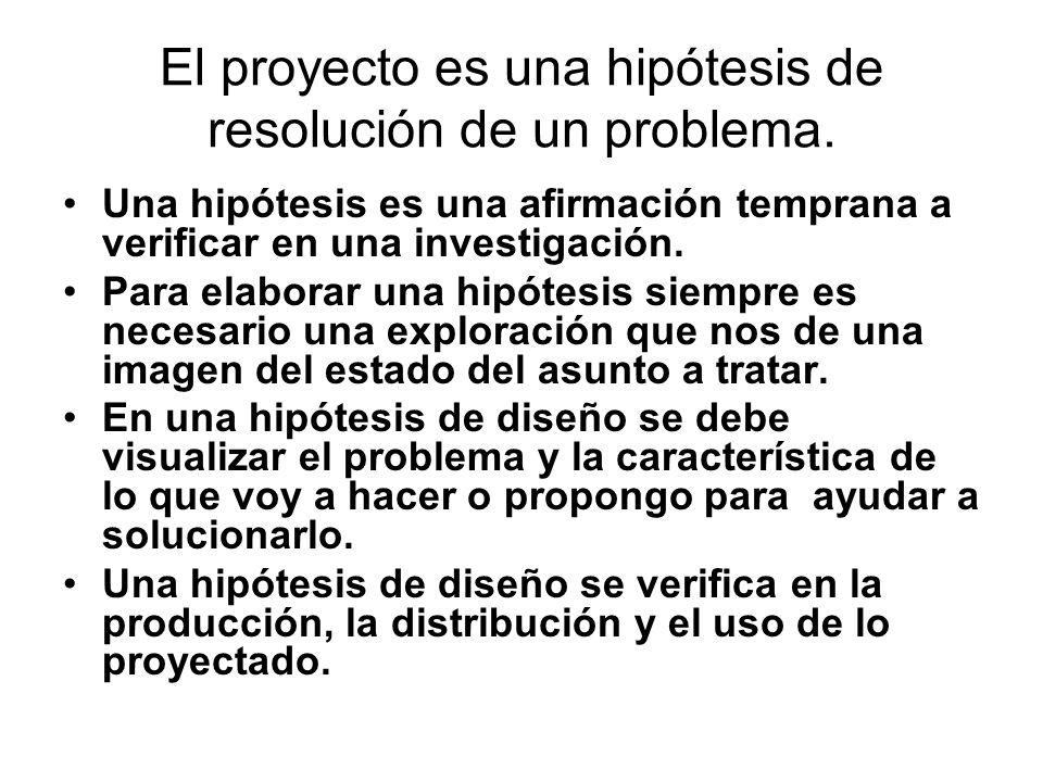 El proyecto es una hipótesis de resolución de un problema.