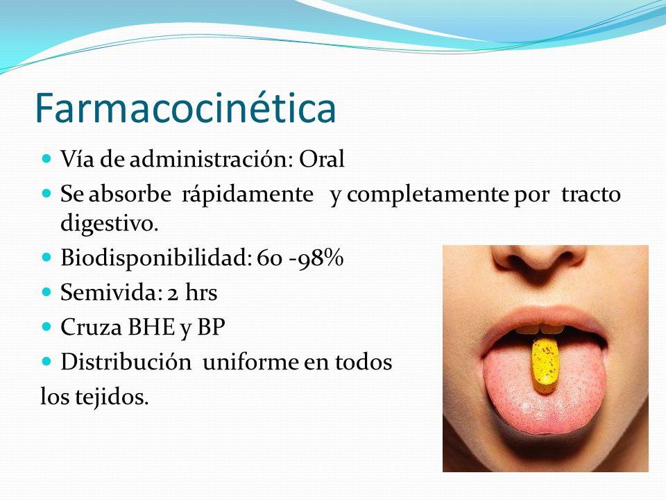 Farmacocinética Vía de administración: Oral