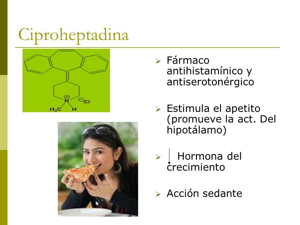 Ciproheptadina Fármaco antihistamínico y antiserotonérgico