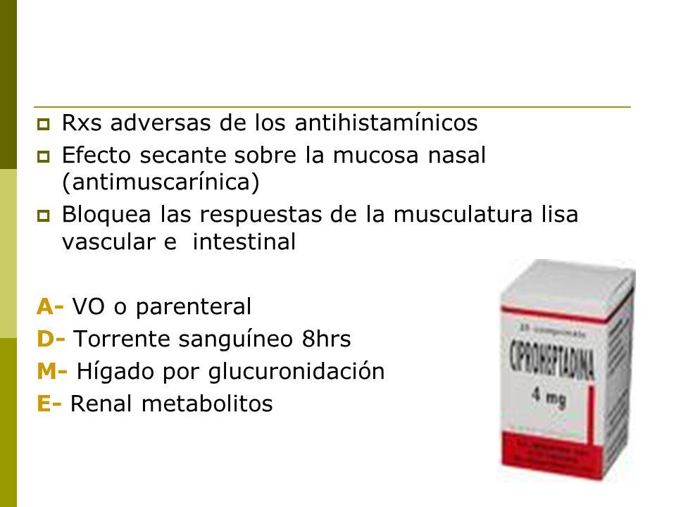 Rxs adversas de los antihistamínicos